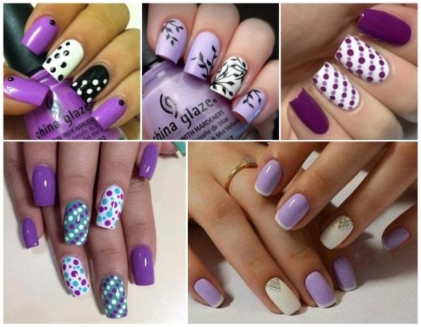 decoración de uñas moradas paso a paso