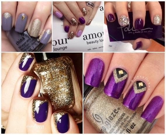 diseños de decoración de uñas moradas