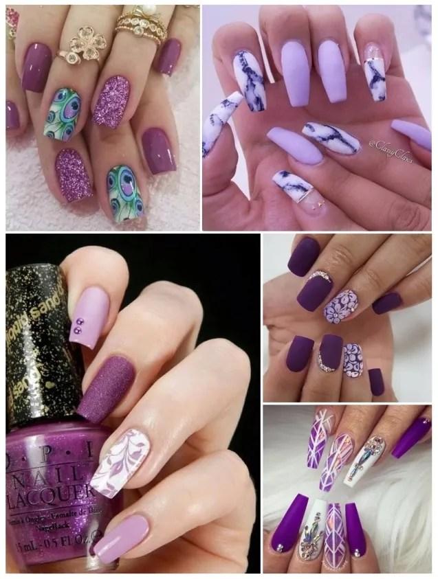 decoración de uñas moradas para niñas