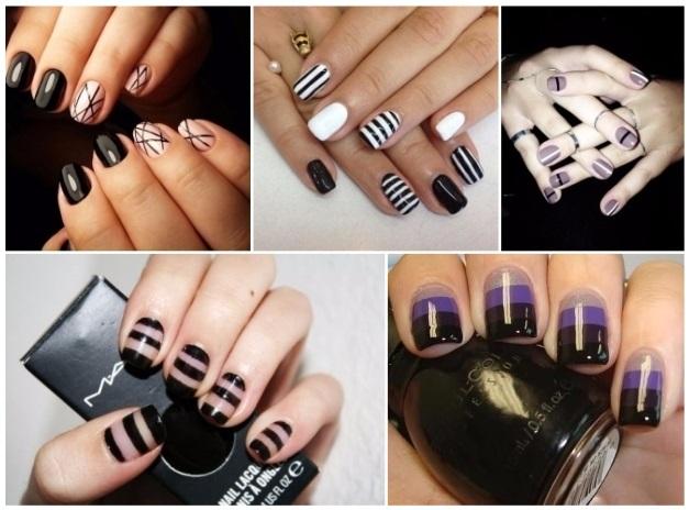 decoracion de uñas con rayas negras