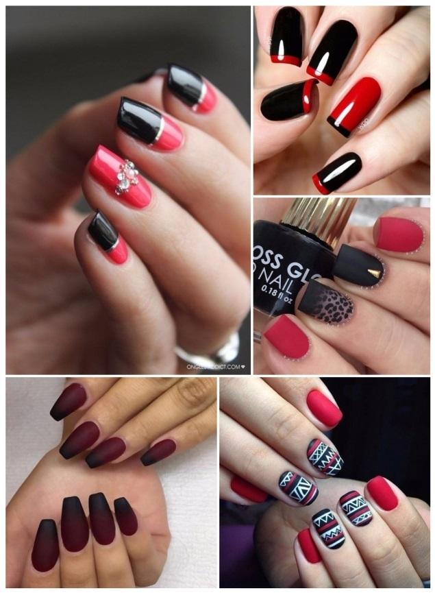 decoración de uñas cortas negras