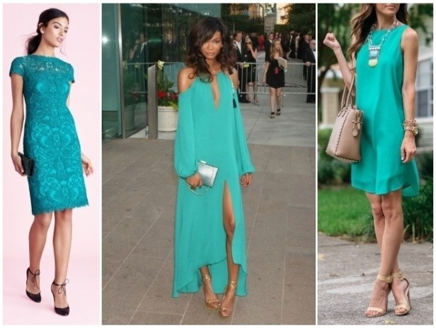 cómo combinar vestido verde menta