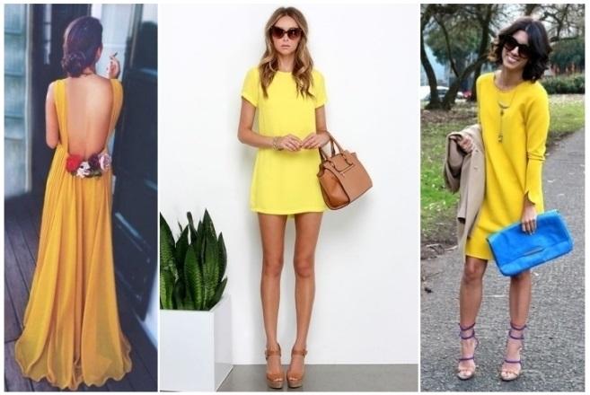 Vestido amarillo con zapatos azul rey