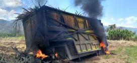 Indigenas incineran maquinaria en Caloto Cauca.