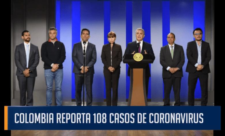 COLOMBIA REPORTA 108 CASOS DE CORONAVIRUS
