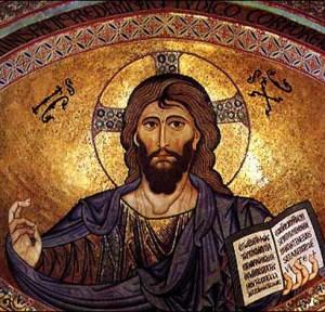 Mosaico de Cristo Pantocrator estilo bizantino en Catedral de Cefalù, Sicilia