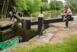 Paul and Fran having a rest while the lock emptied