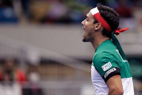 Fabio Fognini celebra un punto con Italia en Copa Davis