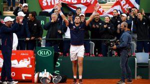 Cameron Norrie celebra el triunfo en Copa Davis ante España