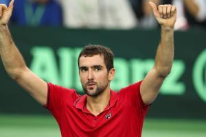 Cilic celebra una victoria en la Davis