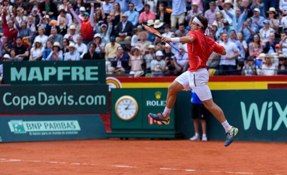 David Ferrer celebra un punto ante Alemania en Copa Davis