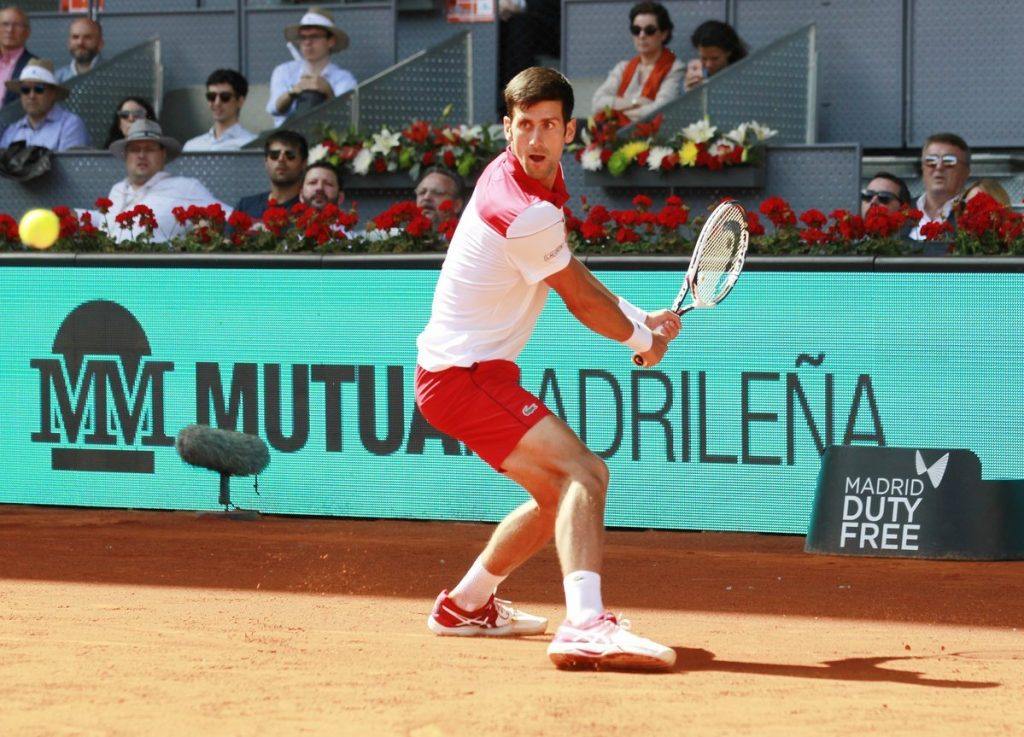 Djokovic en su partido en el Mutua Madrid Open