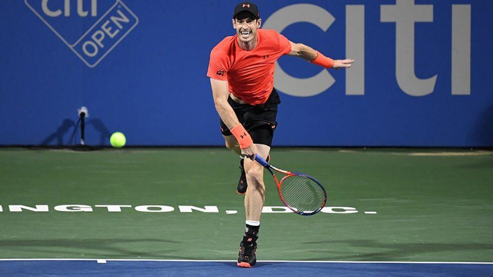 Murray disputando los cuartos de final en Washington