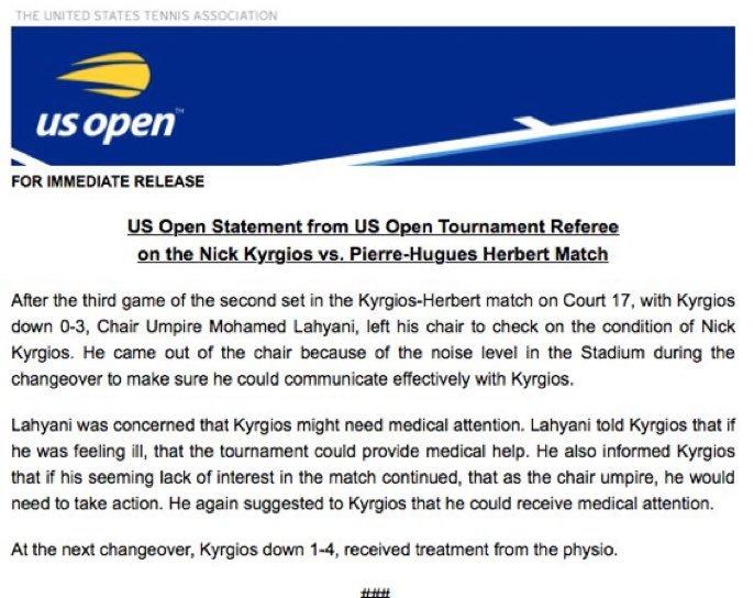 Explicación del US Open a lo sucedido entre Lahyani y Kyrgios