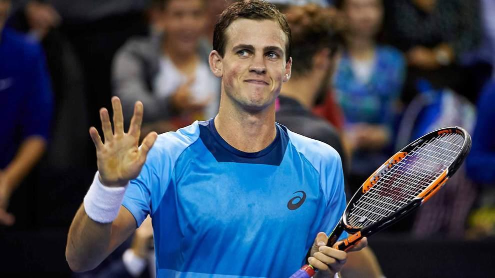 Pospisil celebra un triunfo en un torneo ATP