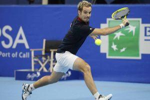Gasquet jugando un partido en el ATP de Amberes