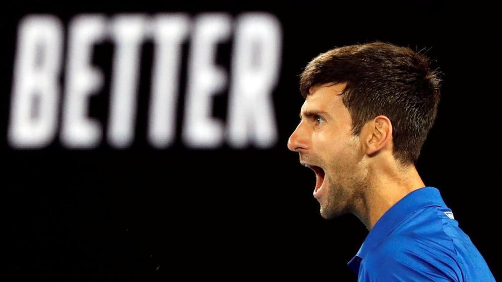 Djokovic celebra un punto en Grand Slam