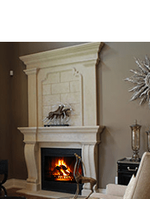 Custom Limestone Fireplace Mantels and Inserts