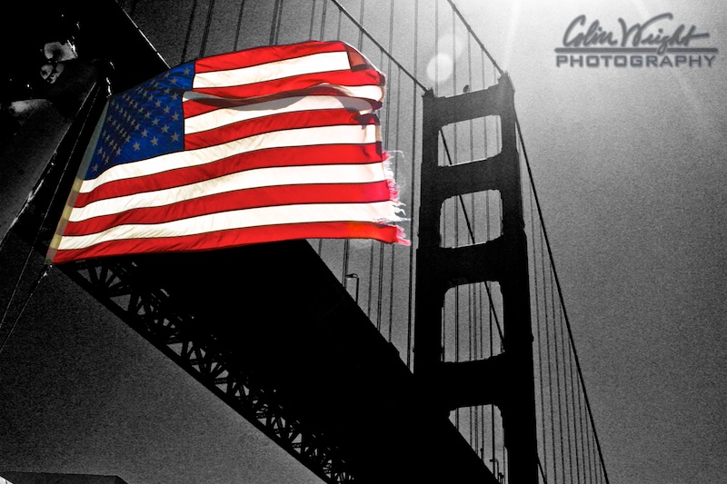 Old Glory and The Golden Gate Bridge