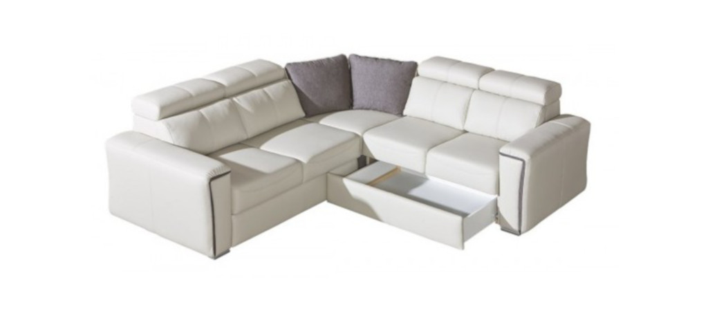 beliani canape angle droite convertible simili cuir blanc 5 places avec pouf