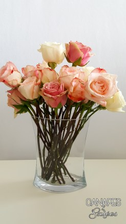 Canapes and Soirees Pink Rose Floral Arrangement Trimmed Roses