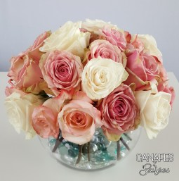 Canapes and Soirees Pink Rose Floral Arrangement Full Rose Base