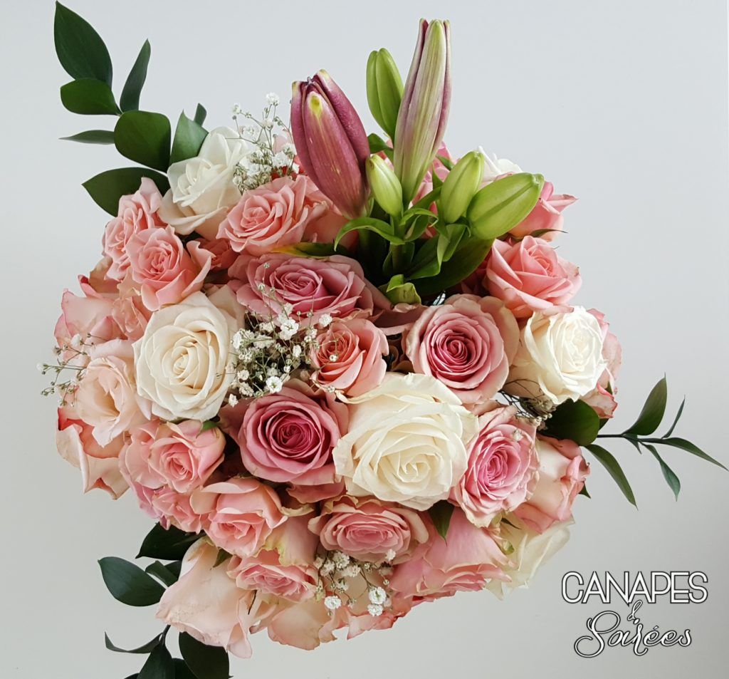 Canapes and Soirees Easy Pink Rose Floral Arrangement