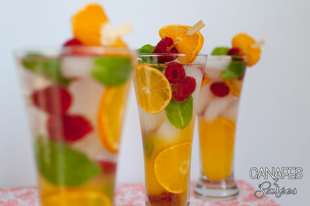 Canapes and Soirees Whole30 Orange Mint Raspberry Spritzers