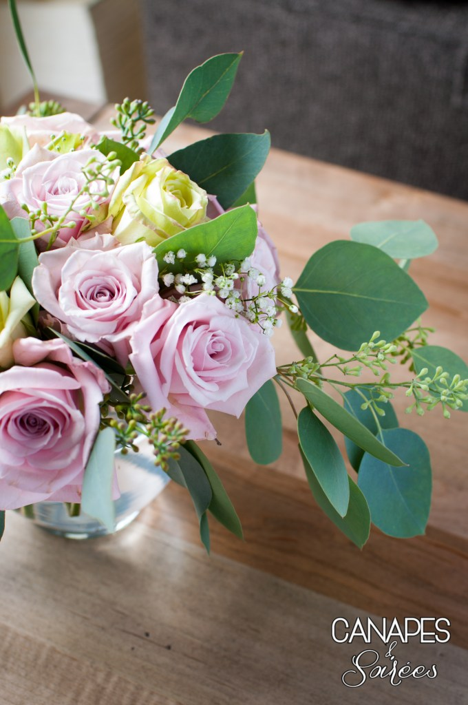 Top View Pink Rose and Seeded Eucalyptus Floral Arrangement