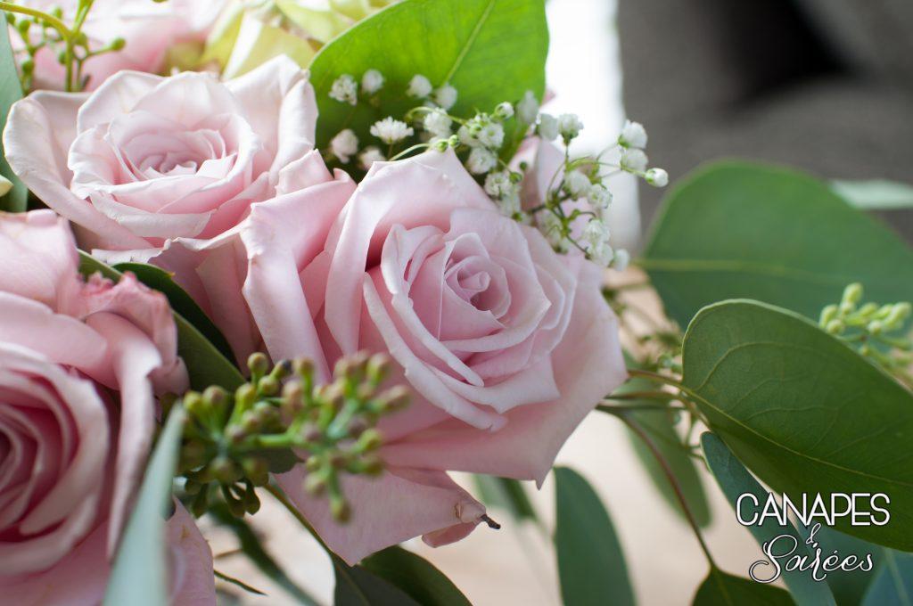 Pink Rose Floral Arrangement Up Close