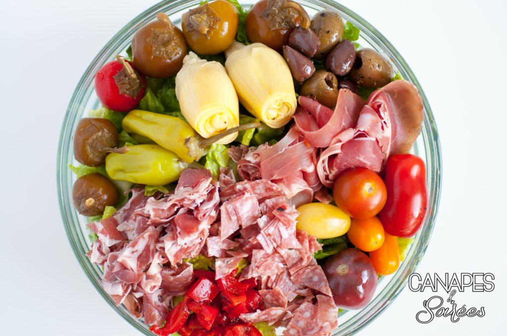 Antipasto salad in a bowl