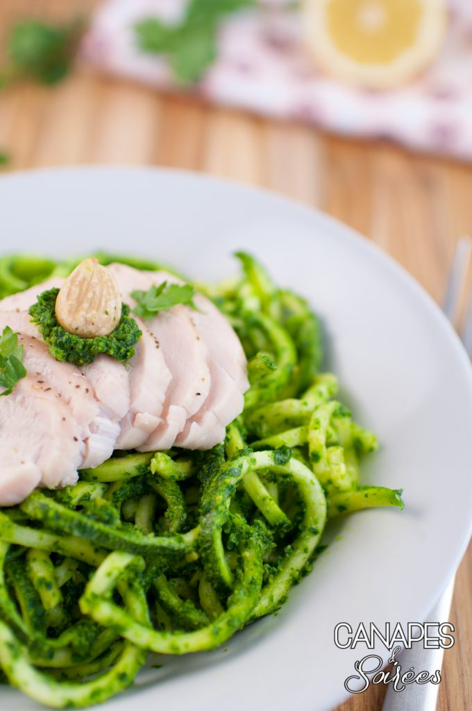 Whole30 Parlsey Almond Pesto Zucchini Noodles with Chicken