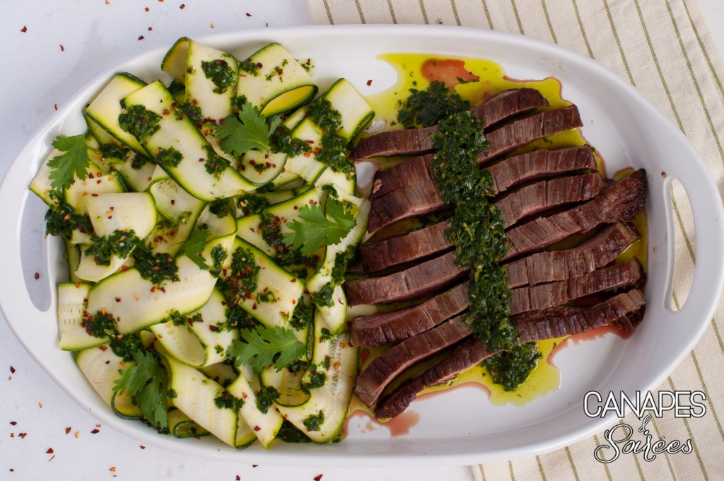 A plate of Seared Flank Steak with Chimichurri and Zucchini Ribbons