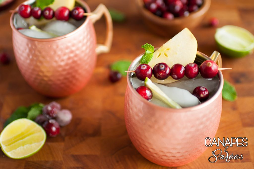 Cranberry Pomegranate Moscow Mule Cocktails