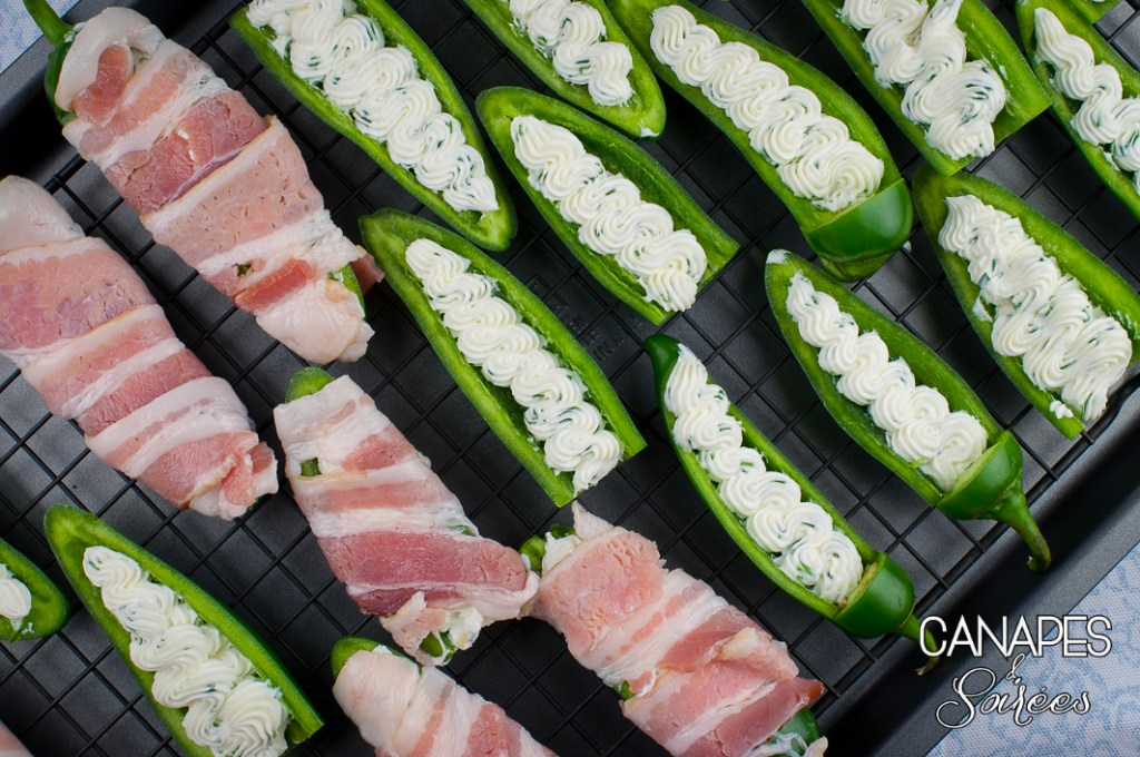 Bacon wrapped jalapenos getting ready to go in the oven