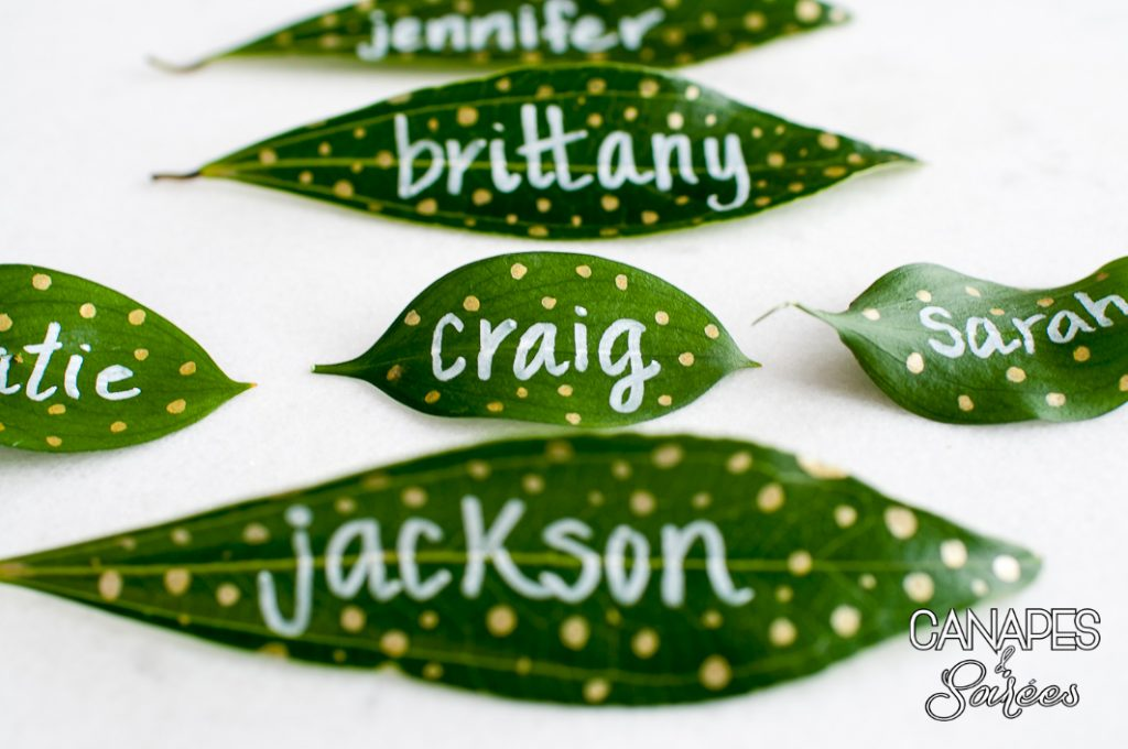 Leaf Place Cards with White Writing