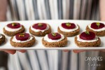 A plate of Lemon Thyme Beet Goat Cheese Canapes