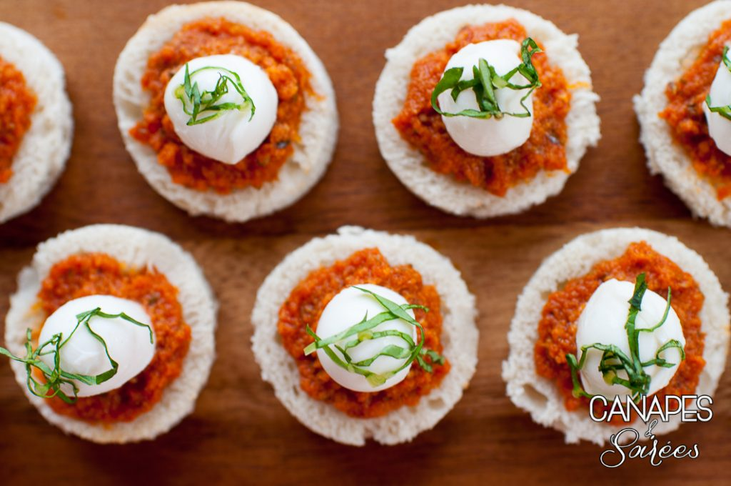 Sun Dried Tomato Basil Mozzarella Canapés from above