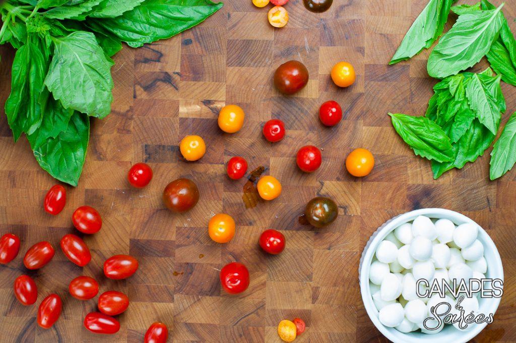 Tomato Basil Mozzarella Canapé Ingredient Prep