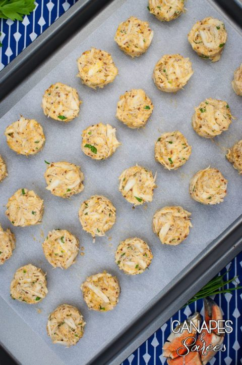 A Sheet Pan of Mini Low Carb Chesapeake Crab Cakes-1