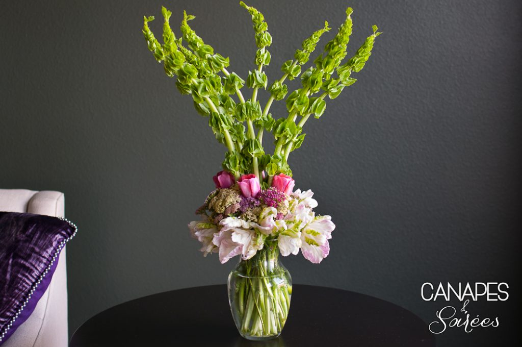 A tall spring floral arrangement