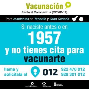 Los residentes en Gran Canaria y Tenerife nacidos antes de 1957 que no han sido vacunados pueden pedir cita en 012