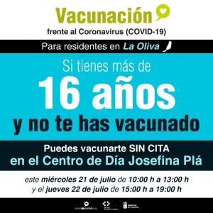 En La Oliva, los mayores de 16 años sin vacunar pueden vacunarse sin cita este miércoles y jueves