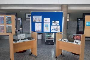 Muestra de materiales volcánicos de una erupción estromboliana, en la Biblioteca de Ingenierías