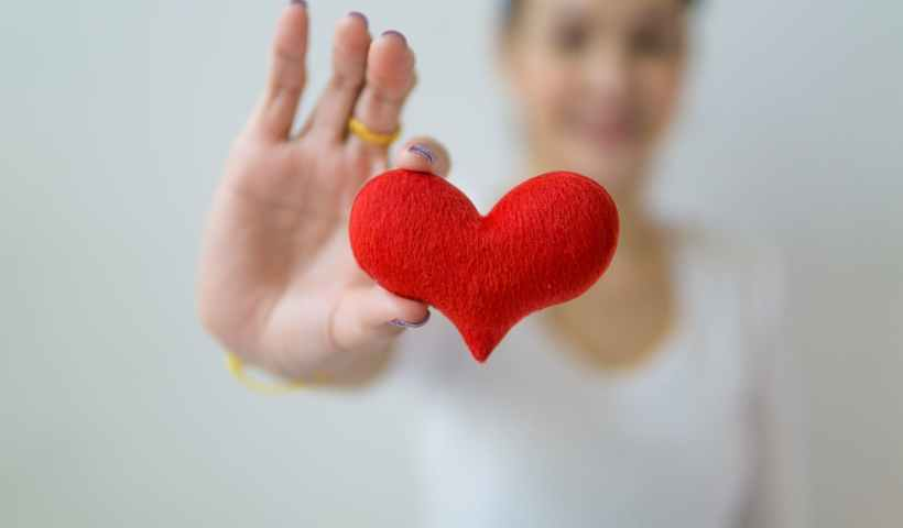 selective focus of red heart shape