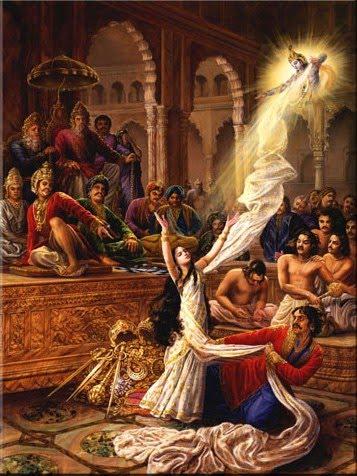 Krishna alargando la sari de Drupadi