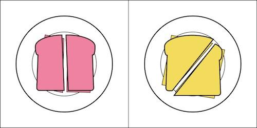 Cortas Sandwhich por la mitad o perpendicular