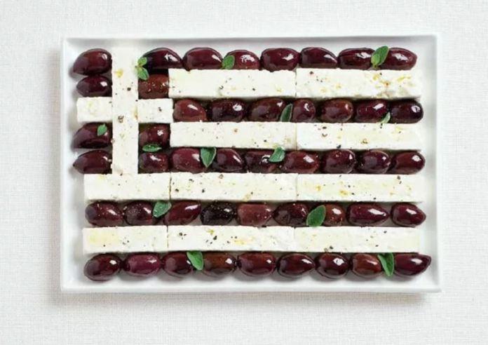 Bandera Grecia - Aceitunas Kalamata y Queso Feta