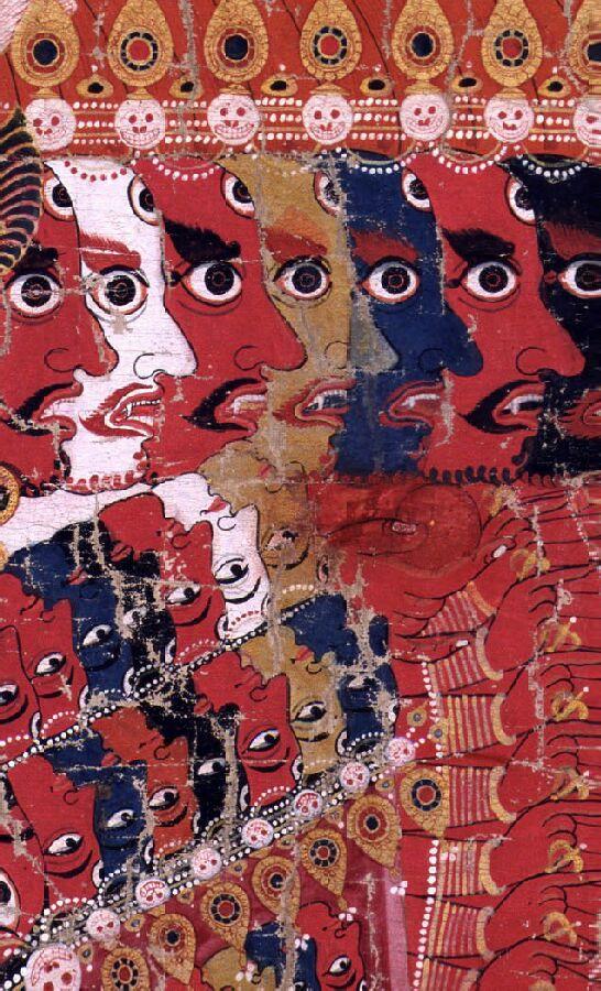 cabezas en Vishvarupa telas pigmento Nepal