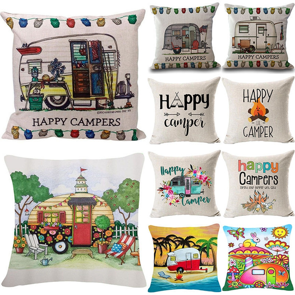18 inches home decor happy camper quote pillow case coton linen pillow cover throw pillow case square pillow wish